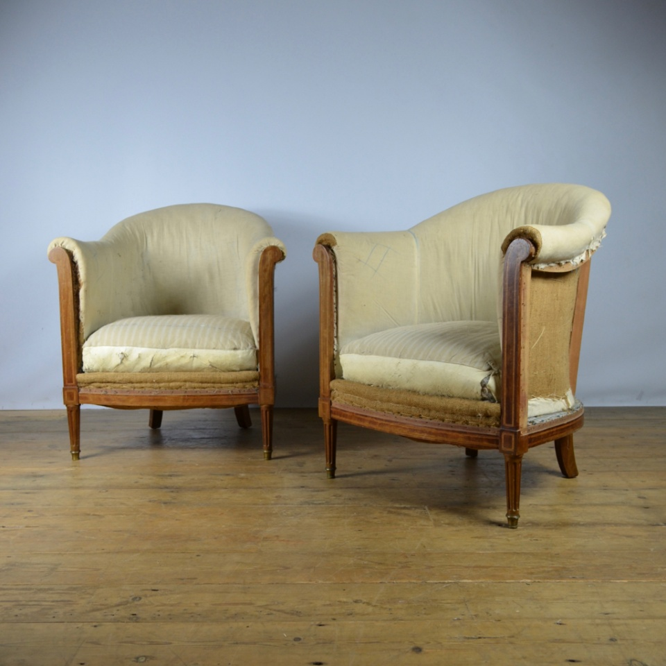 Antique Sofa Reupholstery Cost: Pair Of French Inlaid Tub Chairs, Full Reupholstery