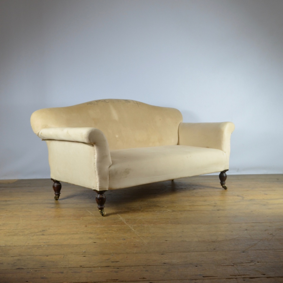 Antique Sofa Reupholstery Cost: English Two Seater Camel Back Sofa