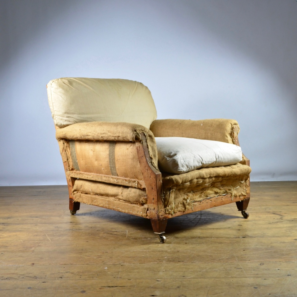 C267 English Edwardian Armchair Reupholstery Included
