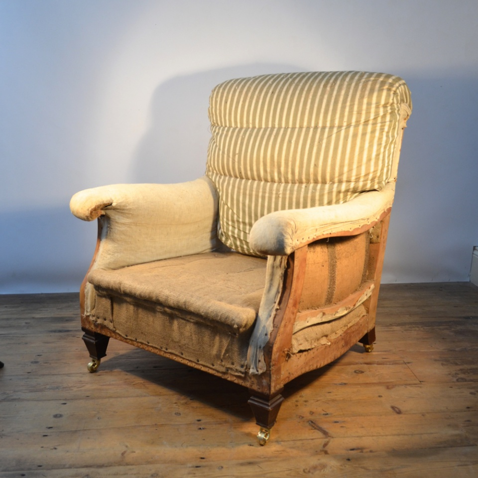 M011 French Upholstered Armchair Reupholstery Incl The One Off Chair Company